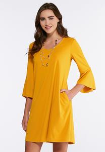 Plus Size Flounce Sleeve Swing Dress