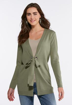Grommet Tie Cardigan Sweater