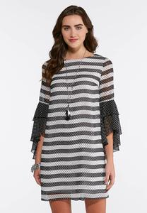 Plus Size Dotted Stripe Bell Sleeve Dress