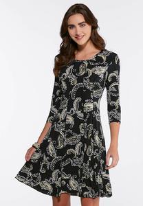 Plus Size Seamed Puff Paisley Dress