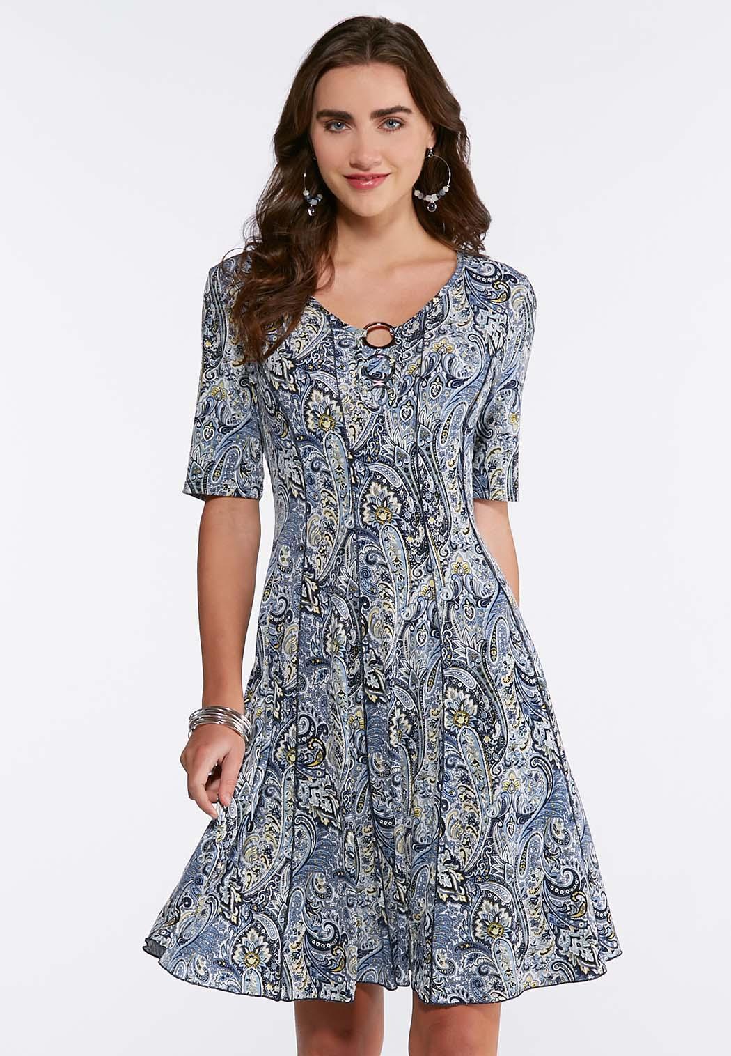 Embellished Seamed Paisley Dress