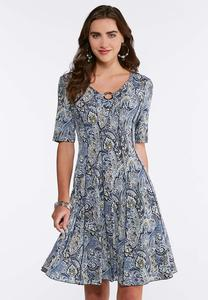 Embellished Seamed Paisley Dress