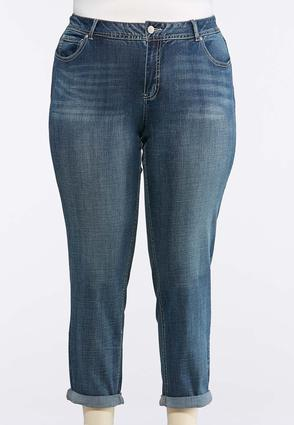 Plus Size Light Wash Skinny Ankle Jeans