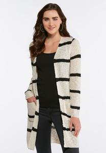 Contrast Stripe Cardigan Sweater