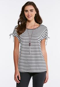 Plus Size Stripe Lace Up Sleeve Top