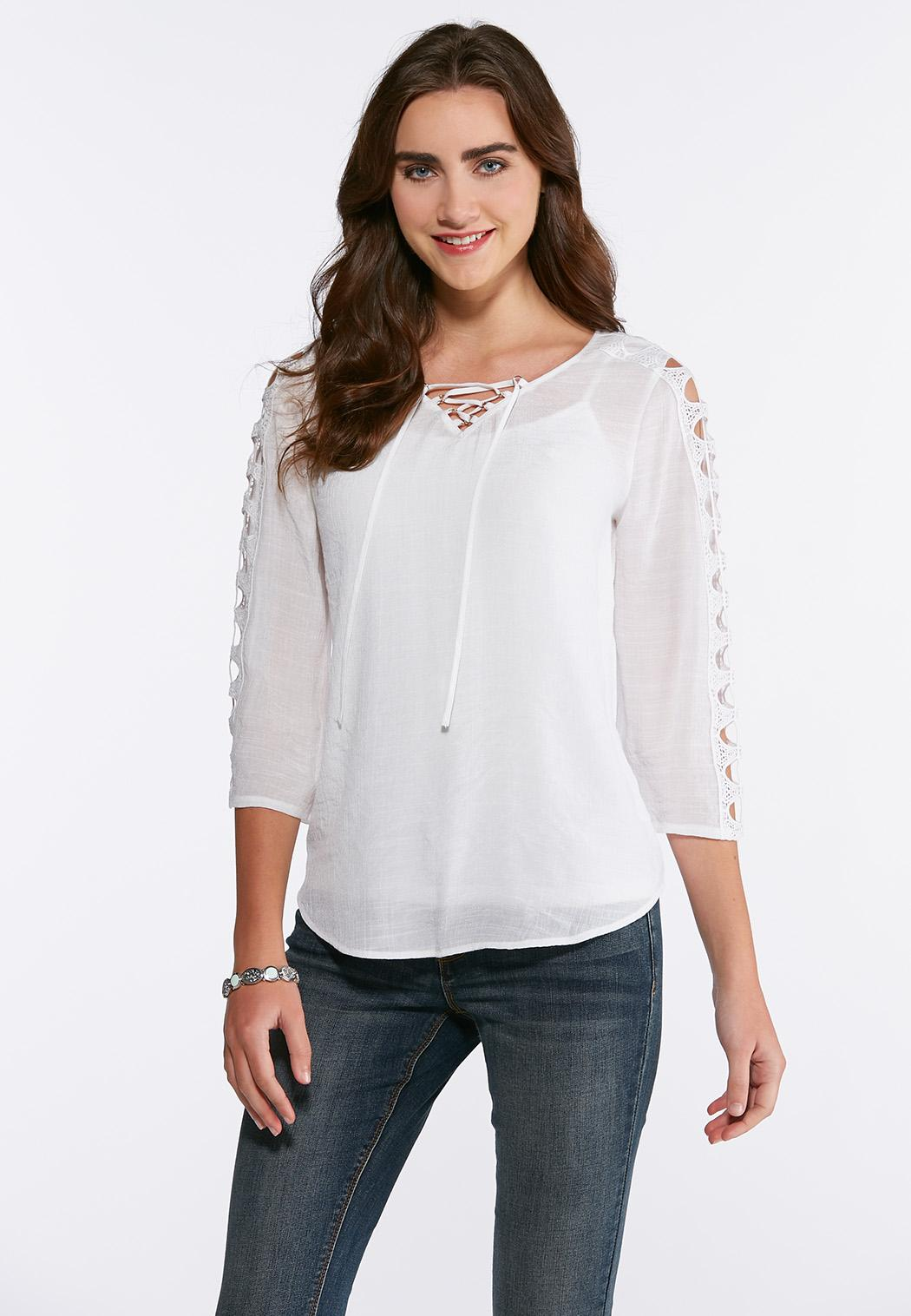 Plus Size Cutout Sleeve Crepe Top