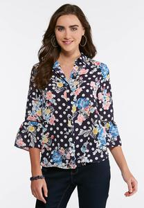 Navy Dotted Floral Top