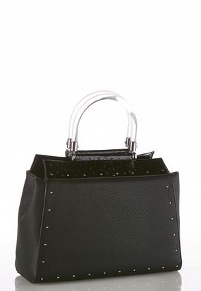 Lucite Handle Textured Satchel