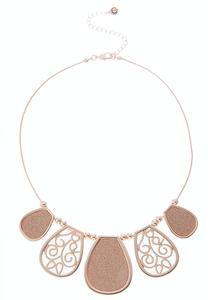Rose Gold Filigree Glitter Bib Necklace