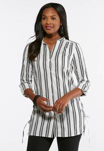 Plus Size Stripe Button Down Tunic