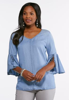 Chambray Tie Bell Sleeve Top