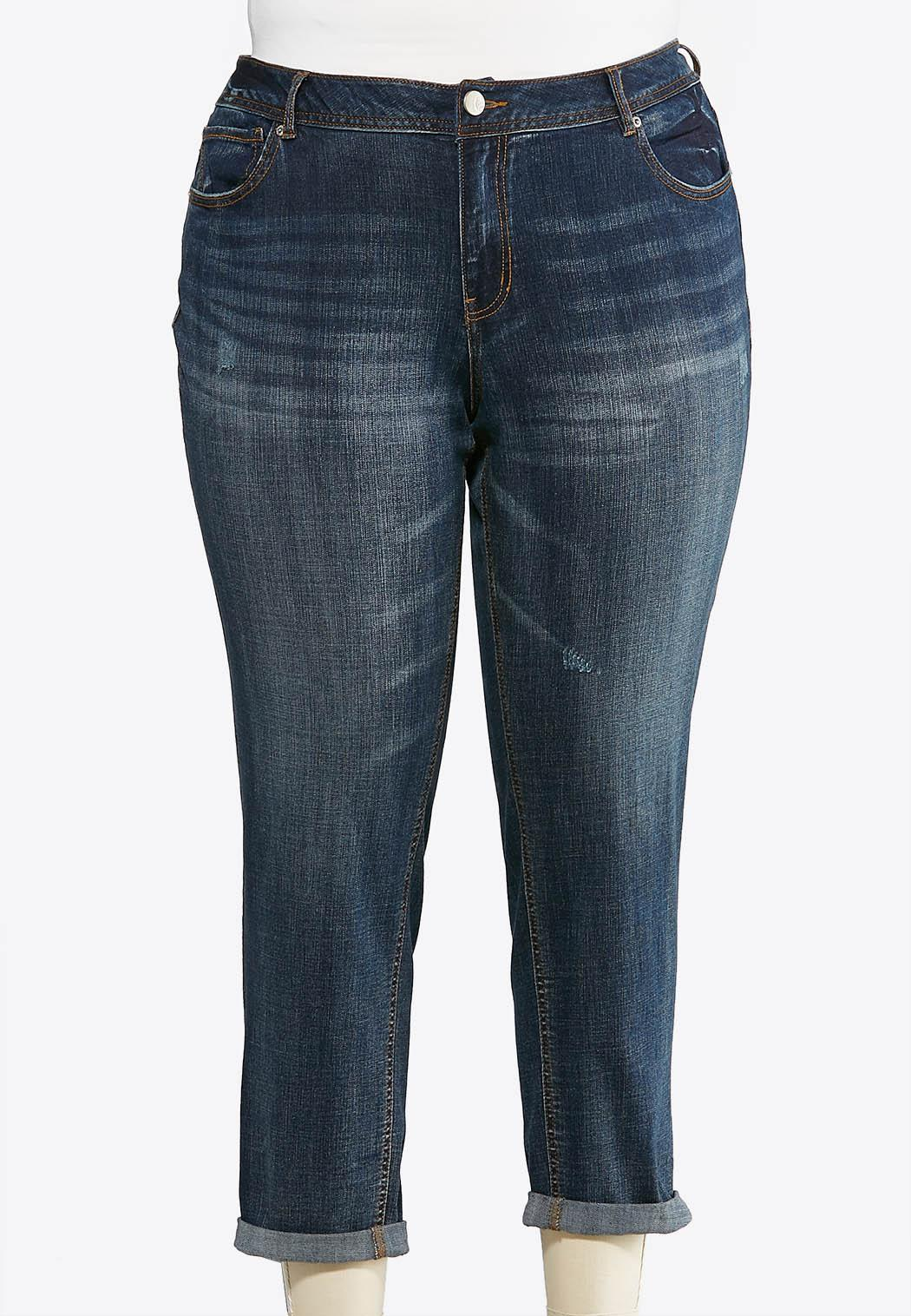 Plus Petite Distressed Girlfriend Ankle Jeans