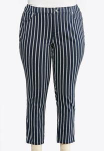 Plus Size Denim Navy Stripe Jeans