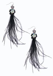 Sequin Flower Feather Earrings
