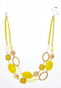 Yellow Bead Layered Suede Necklace