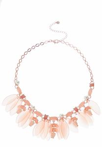 Lucite Flower Pearl Necklace