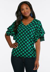 Green Polka Dotted Top