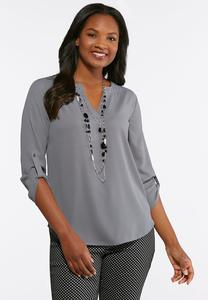 Plus Size Gray High- Low Top