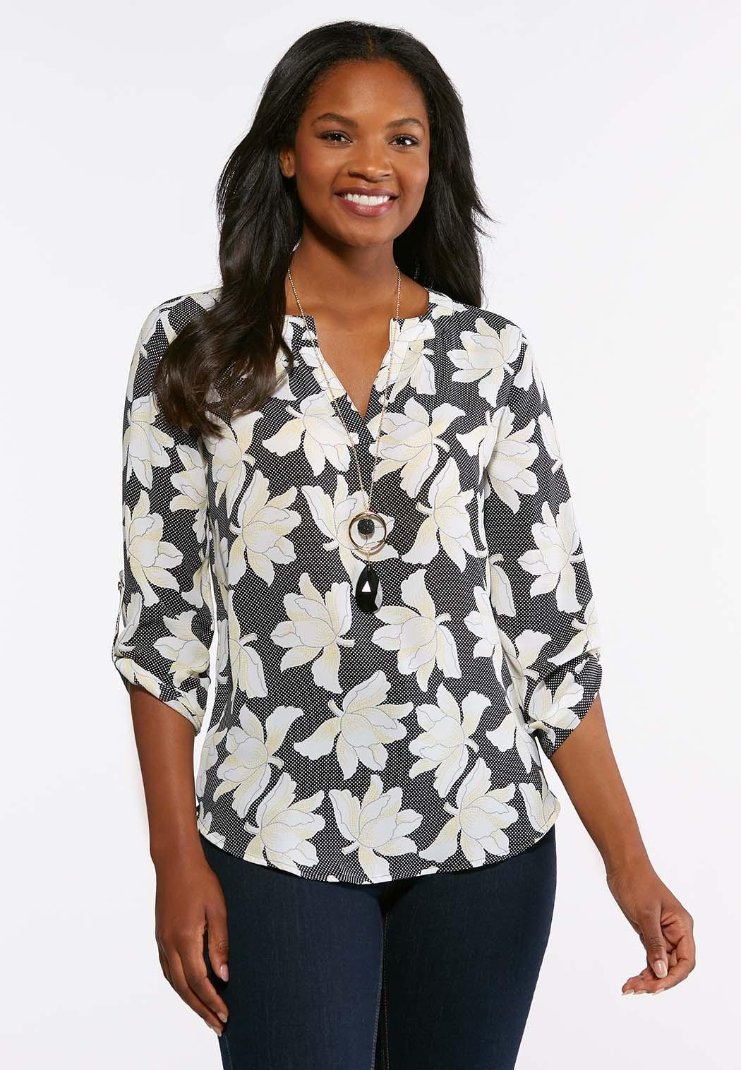 Plus Size Dotted Floral Tunic