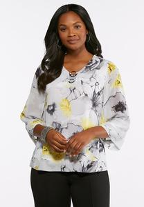Plus Size Embellished Gold Floral Top