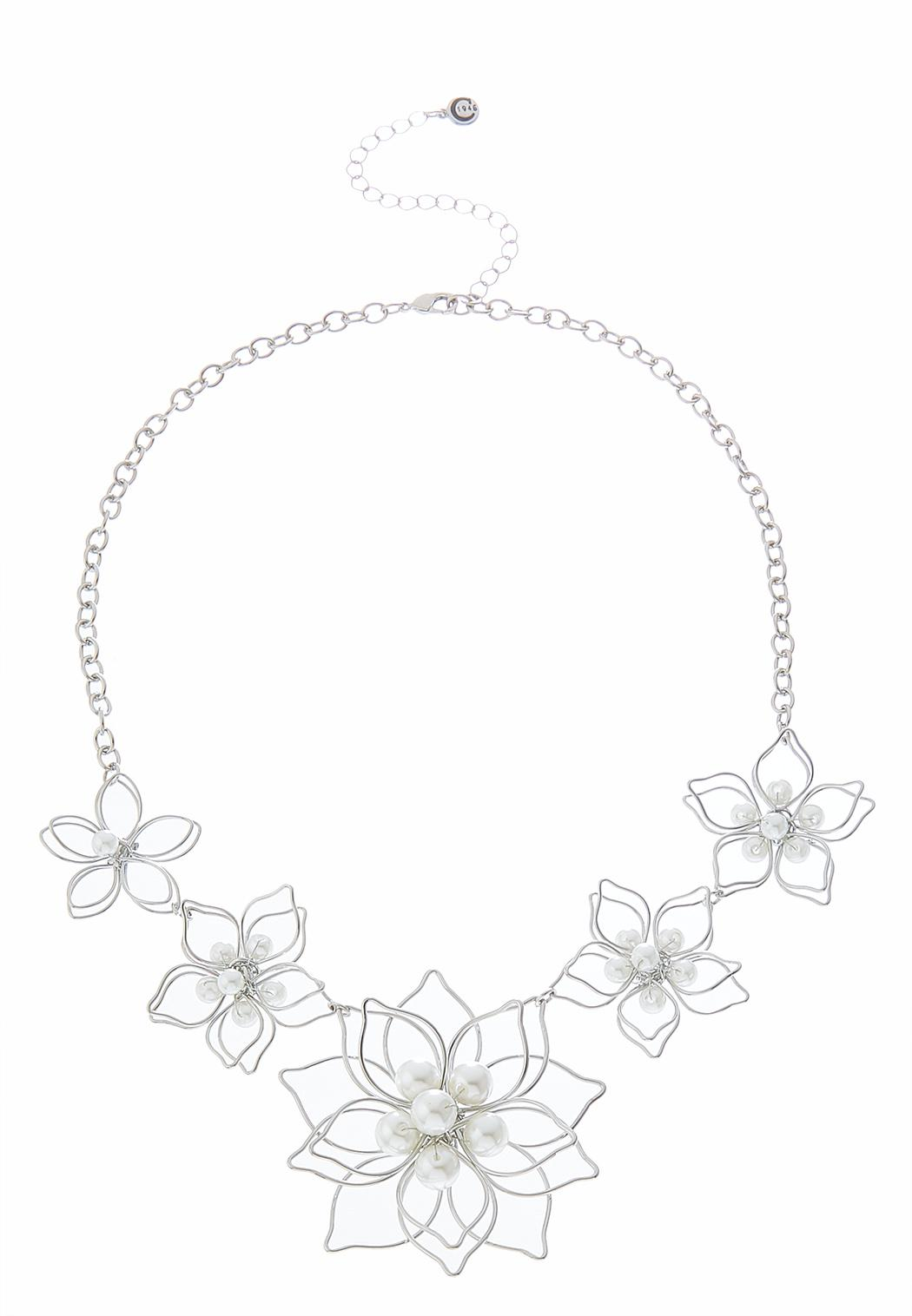 Pearl Flower Statement Necklace Pearl Cato Fashions