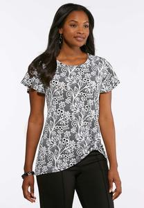 Plus Size Flutter Sleeve Knot Front Top