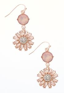 Rose Gold Glass Flower Earrings