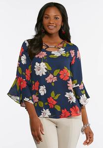 Navy Floral Bell Sleeve Top