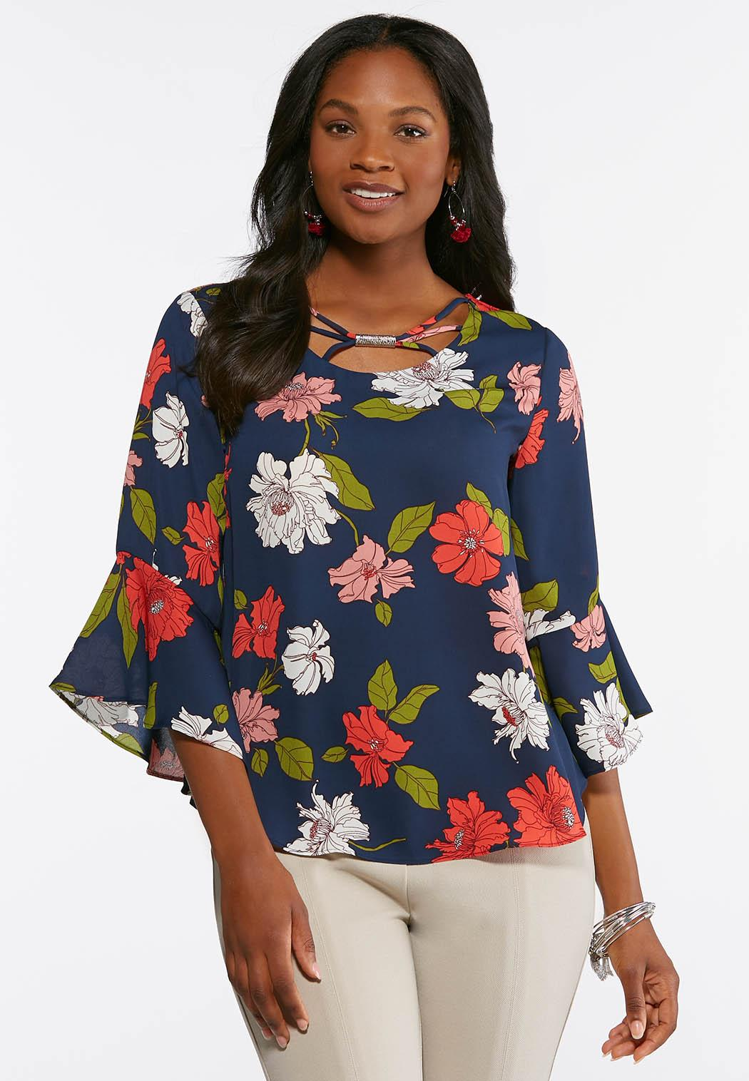 7031312a93e47 Plus Size Navy Floral Bell Sleeve Top Shirts   Blouses Cato Fashions