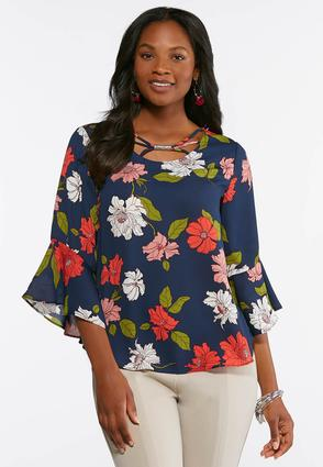 Plus Size Navy Floral Bell Sleeve Top