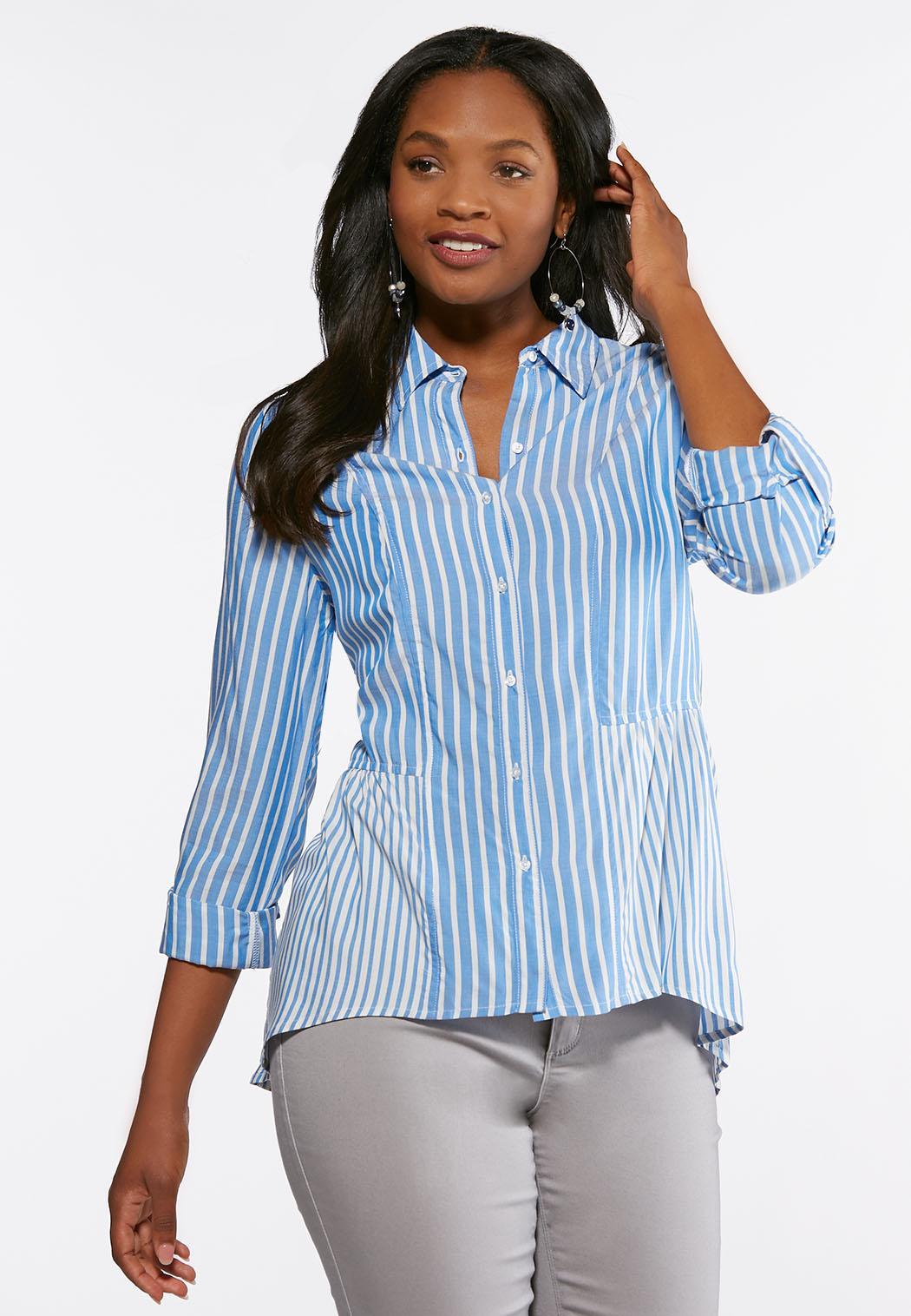 86876e61362 Plus Size Blue Stripe Peplum Shirt Shirts   Blouses Cato Fashions