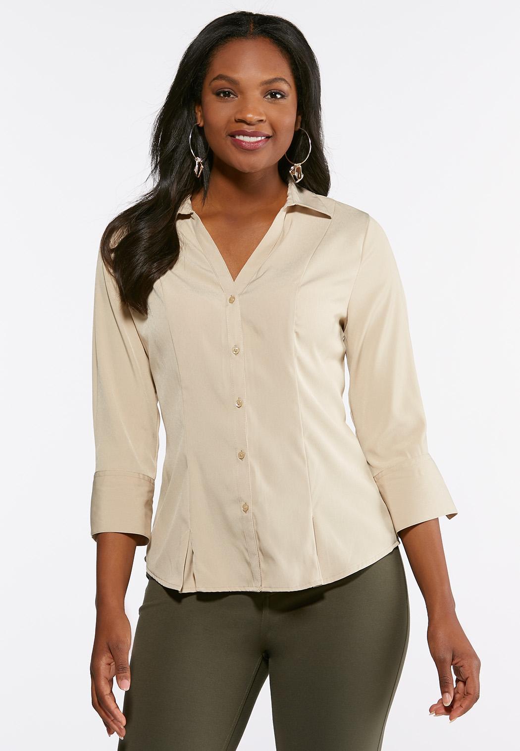 Pleated Hem Button Down Shirt