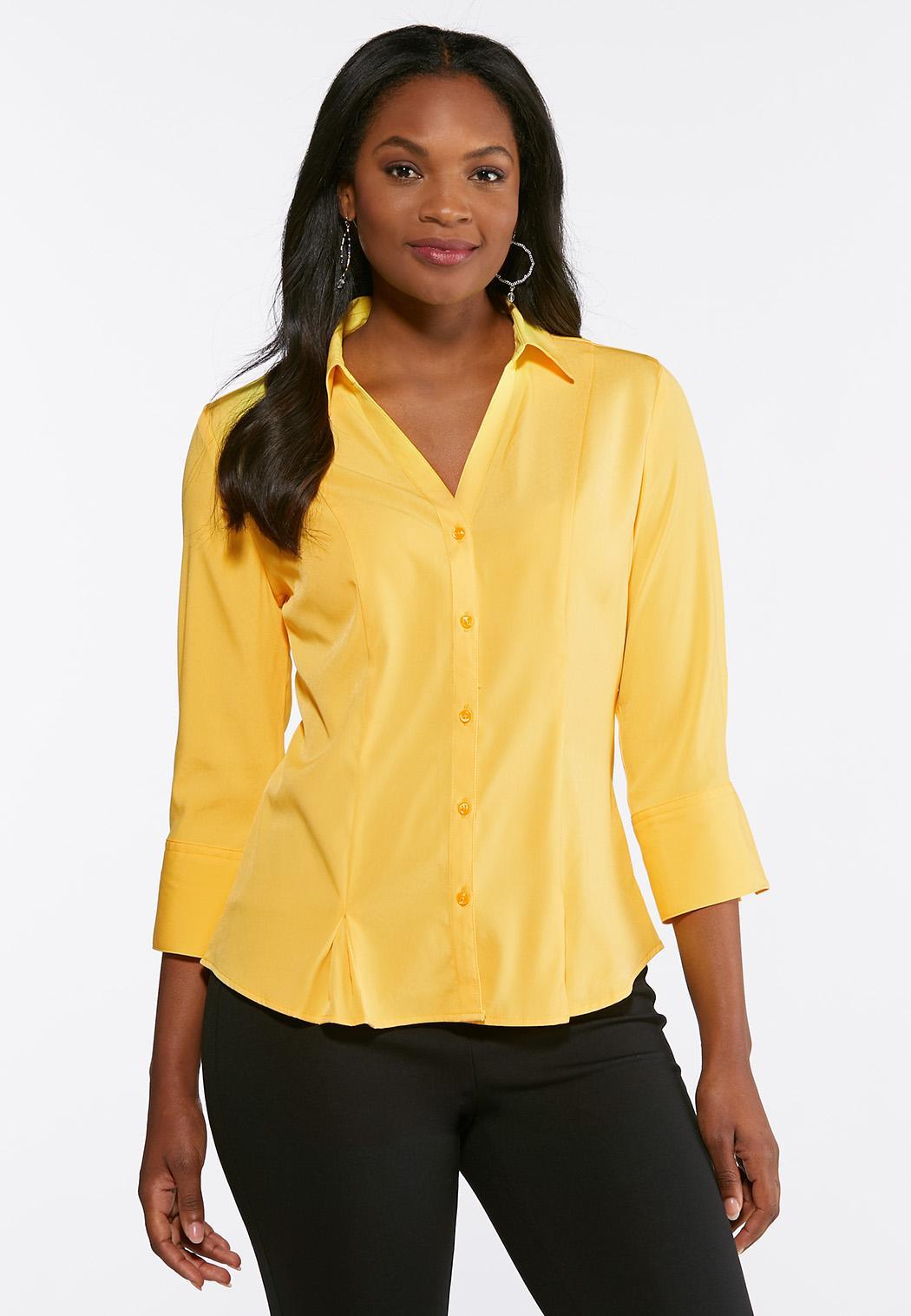 Plus Size Pleated Hem Button Down Shirt