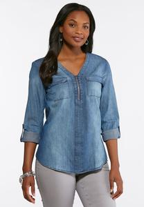 Plus Size Denim Zip V-Neck Shirt