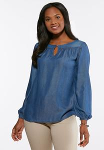 Plus Size Chambray Pleated Poet Top