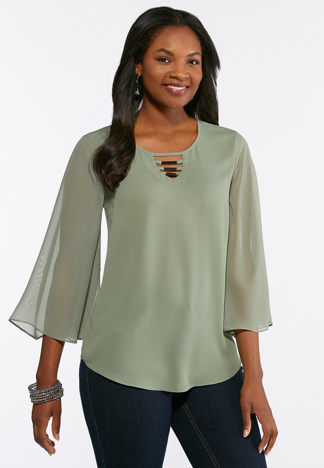 Plus Size Sheer Bell Sleeve Blouse Shirts Blouses Cato Fashions