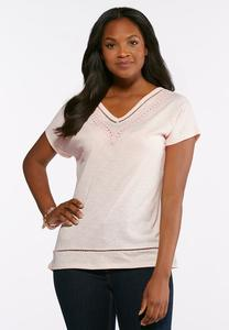 Crochet Trim V-Neck Tee