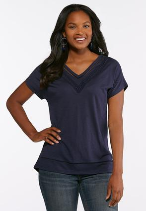 Crochet Trim V- Neck Tee
