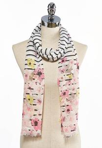 Floral Border Stripe Oblong Scarf
