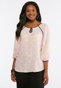 Plus Size Polka Dotted Piped Trim Top