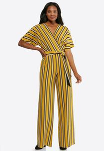 Plus Size Striped Tie Waist Jumpsuit