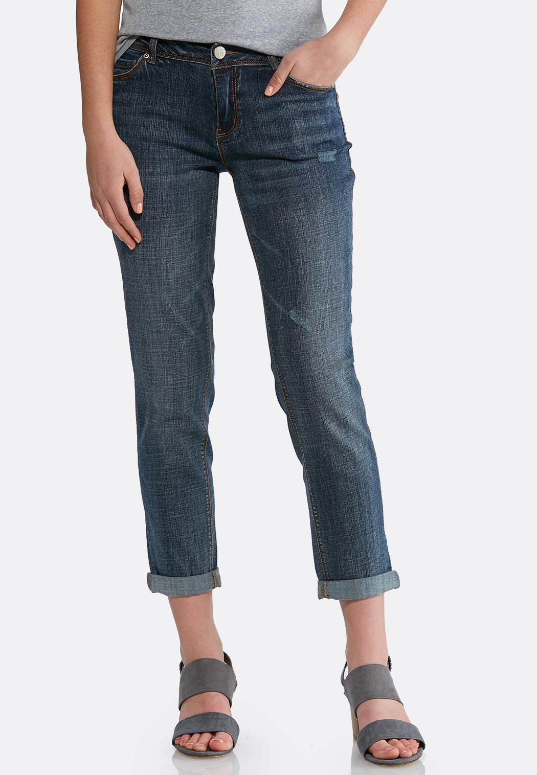 Distressed Girlfriend Ankle Jeans
