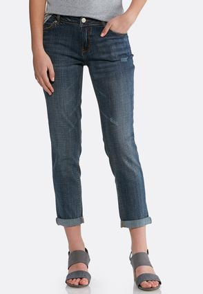Petite Distressed Girlfriend Ankle Jeans