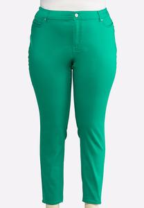 Plus Size Solid Color Denim Jeggings