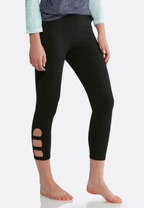 Cutout Lattice Cropped Leggings