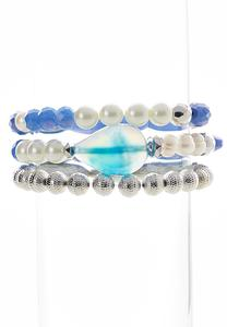 Pearl Mixed Bead Bracelet Set