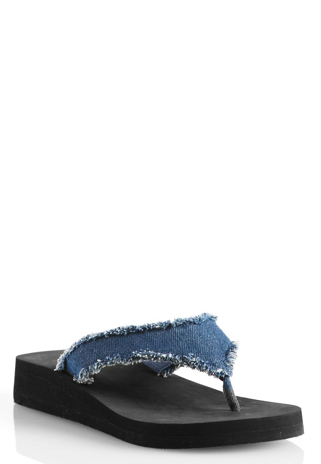 8fbc8705e154 Frayed Denim Platform Flip Flops Flip Flops Cato Fashions