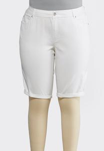 Plus Size White Denim Bermuda Shorts