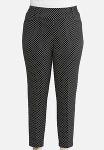 Plus Size Slim Polka Dot Pants