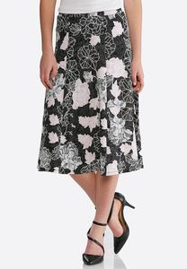 Plus Size Puff Pink Floral Skirt